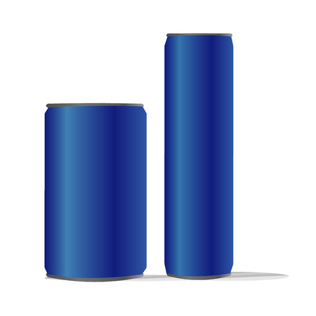 dubbele blauwe aluminium blikjes geïsoleerde achtergrond ideaal voor bier pils alcohol frisdrank soda limonade cola energie drinken sap water
