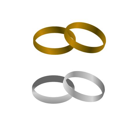 Goud en zilver metaal Bruidspaar ringen op geïsoleerde bckground Stock Illustratie