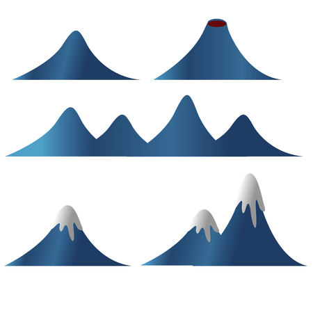 Collection of mountain snow lava vector illustration isolated background Illustration