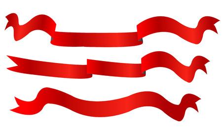 Rode de bevorderingsdecoratie van het lintbannerpictogram die op witte achtergrond wordt geïsoleerd