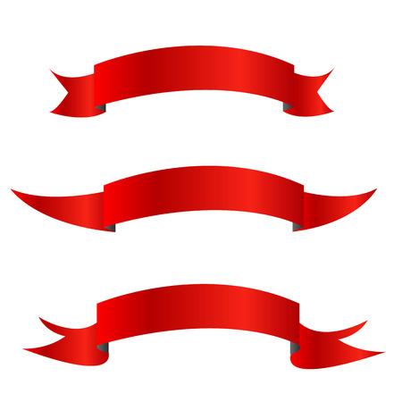 Verzameling van rood lint horizontale banners Stock Illustratie