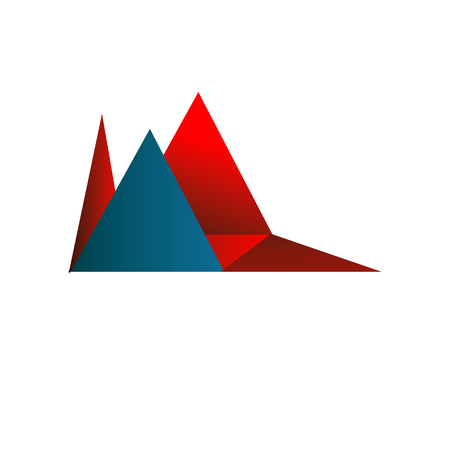 Rode en blauwe abstracte vormen vector