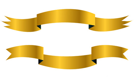 2 golden ribbon flag banners Ilustracja