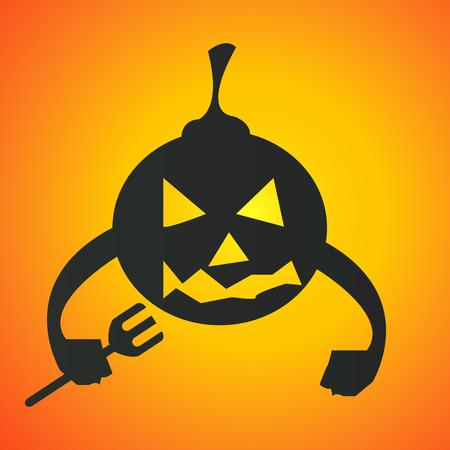 Gelukkige Halloween-pompoen met vorkillustratie