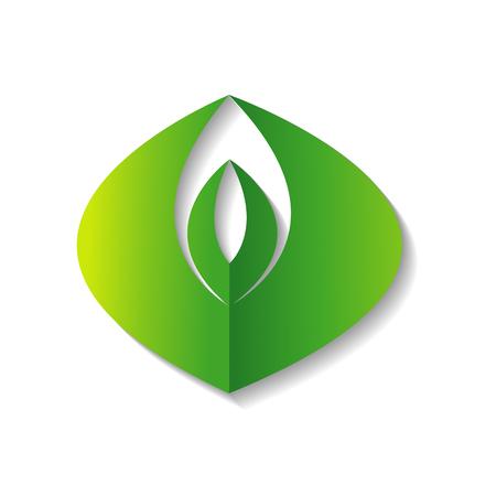 Ga groen ecologiepictogram op witte achtergrond, vectorillustratie.