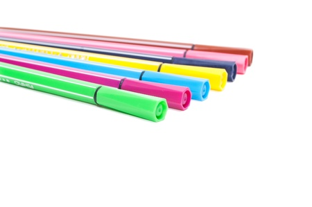 Isolated set of colored felt-tip pens on white background photo