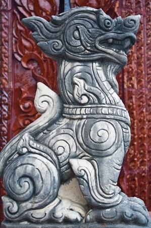 stone lion: Statue lion of Thailand.  Stock Photo