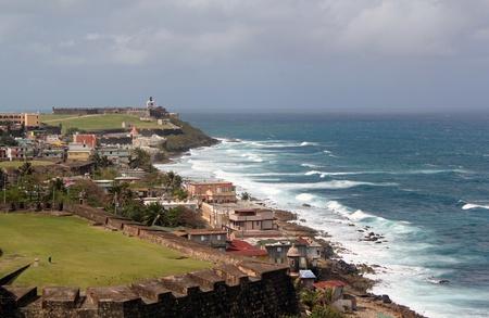 juan: Defenses of the 16th century Castillo de San Felipe del Morro along the shoreline of San Juan, Puerto, Rico.