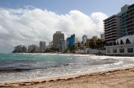A beach scene on the Caribbean island of San Juan, Puerto, Rico.