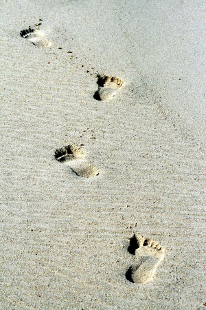 Footprints mark the passage of a visitor to a sandy beach.