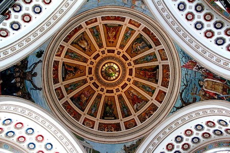 The beautiful, intricate art fresco in the dome of the capitol building in San Juan, Puerto Rico photo