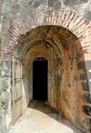 passageways: The entrance to one of many passageways of the 16th century Castillo de San Felipe del Morro in San Juan, Puerto, Rico.