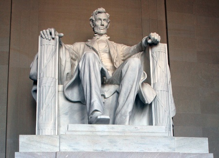 Abraham Lincoln seated statue at the Lincoln Memorial, Washington, DC. Imagens