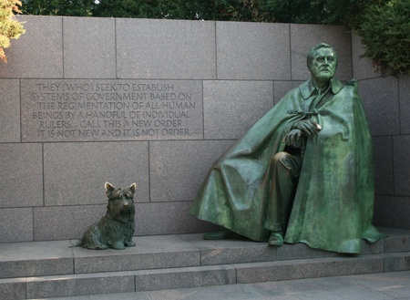 The statue of President Franklin D. Roosevelt and his dog, Fala at the Franklin D. Roosevelt Memorial in Washington, DC.