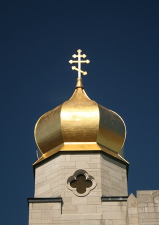 The exterior cross cupola of a typical Eastern Orthodox church.