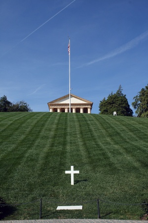 gravesite: The gravesite of U.S. Senator Robert F. Kennedy below the Custis-Lee mansion at the Arlington National Cemetery, in the Washington, DC suburb of Arlington, Virginia.