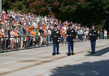 tomb of the unknown soldier: Spectators reverently observe the Changing of the Guard Ceremony, Tomb of the Unknown Soldier, Arlington National Cemetery, Arlington, Virginia.