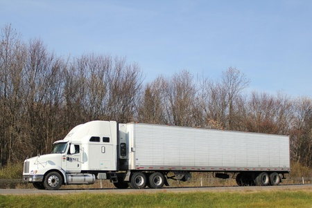 Tractor-trailer  truck on a U.S. interstate highway.  Editorial