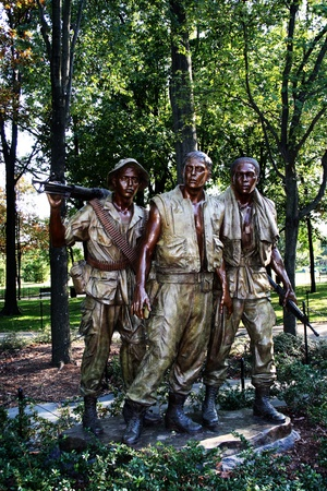 Soldiers statues at the Vietnam War Memorial, Washington, DC.