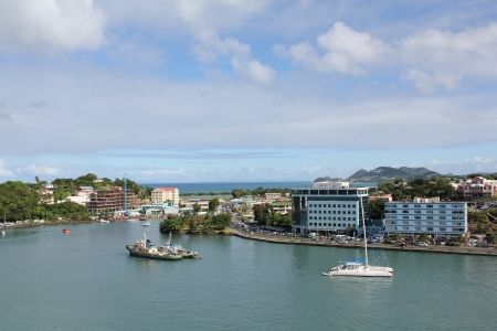 barbados: A view of the peaceful harbor at Bridgetown, Barbados,