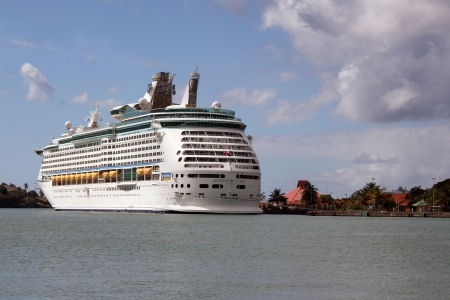 A Royal Caribbean Cruise Lines ship docked in the port city of Bridgetown, Barbados  Stock Photo - 20552045