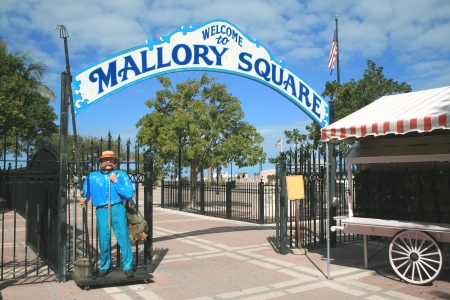 The entrance to the famed Mallory Square in Key West, Florida where residents and visitors gather each evening to watch spectacular sunsets