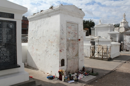 The tomb of alleged Voodoo Queen Marie Laveau in the St  Louis Cemetery  1 in New Orleans, Louisiana,