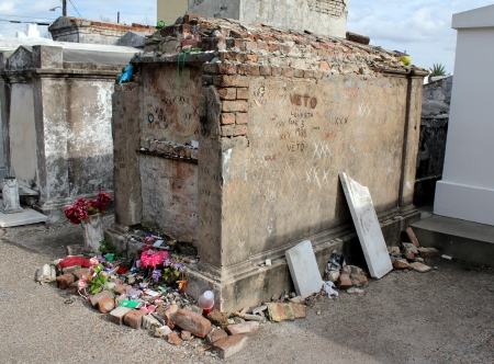 Tomb of unknown Voodoo practitioner, St  Louis Cemetery  1, New Orleans, Louisiana