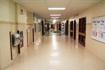 corridors: A landscape view of a typical school hallway