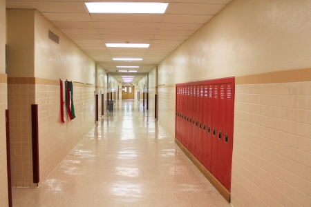 unoccupied: A landscape view of a typical school hallway