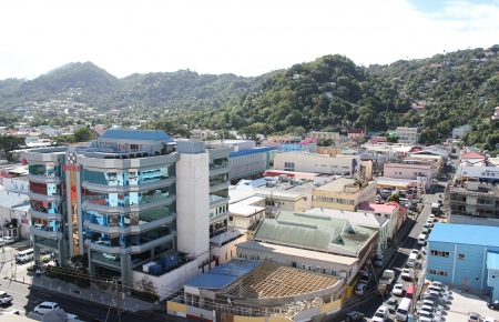 st lucia: A mirrored building dominates the cityscape on the Caribbean island of St  Lucia