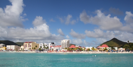 dwi: A seaside view of the port city of Phillipsburg, St  Martin, DWI Stock Photo