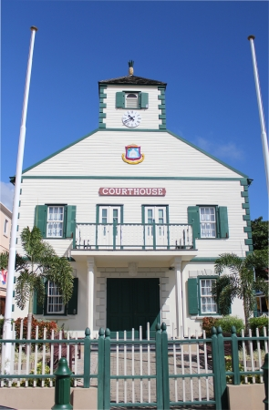 sint: The historic picturesque courthouse in the capitol city of Philipsburg on the Caribbean island of St Martin  Sint Maarten  in the Dutch West Indies