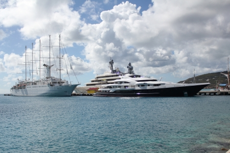dwi: Yachts and a tall ship moored at the port city of  Phillipsburg, St  Martin  St Maarten , DWI