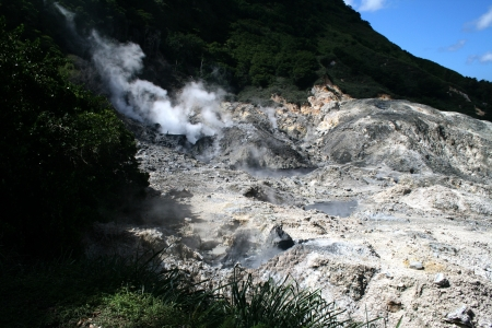 Active volcano on the Caribbean Island of St  Lucia