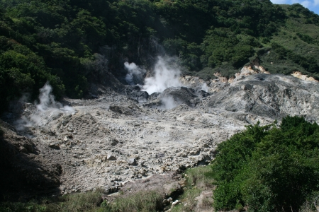 lucia: An active volcano beneath the Caribbean island of St  Lucia releases steam and sulphur from inside the mountain  Stock Photo
