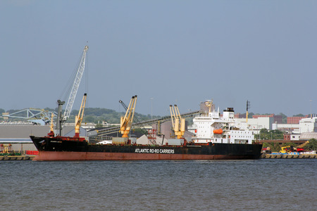 carriers: An Atlantic Ro-Ro Carriers container  cargo ship in port in Baltimore, Maryland, USA.