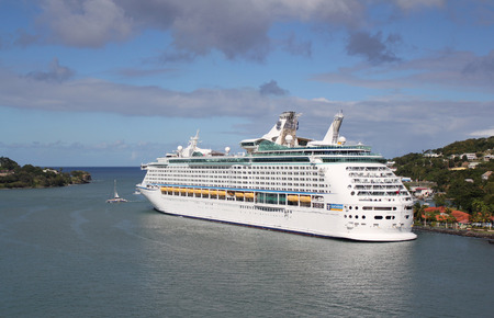caribbean cruise: A Royal Caribbean Cruise Lines ship docked in the port city of Bridgetown, Barbados.