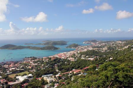 virgin islands: A view of Charlotte Amalie, on the Caribbean island of St. Thomas, US Virgin Islands.