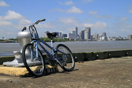 Bike with New Orleans skyline in the Background