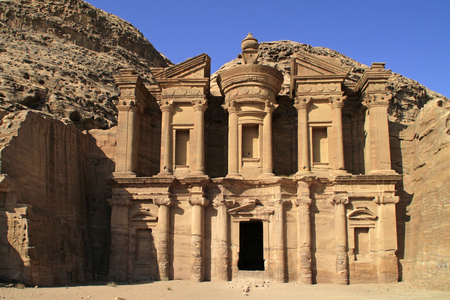The Monastery - also known as Ad Deir - a monumental building carved out of rock in the ancient Jordanian city of Petra.