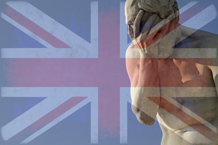 Facepalm and Brexit - Union Jack over a statue with his head in his hands