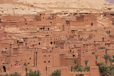 The impressive mud structures and buildings of Ait Benhaddou in Morocco Standard-Bild - 130065791