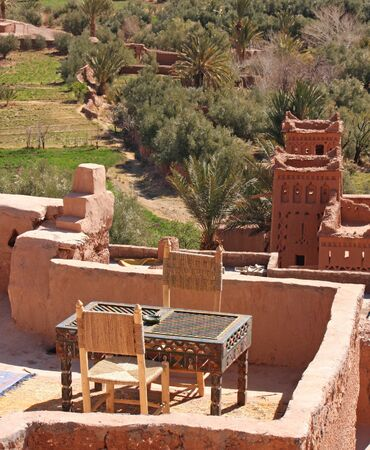 The impressive mud structures and buildings of Ait Benhaddou in Morocco Standard-Bild - 130065793