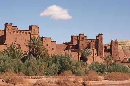The impressive mud structures and buildings of Ait Benhaddou in Morocco Standard-Bild - 130065794