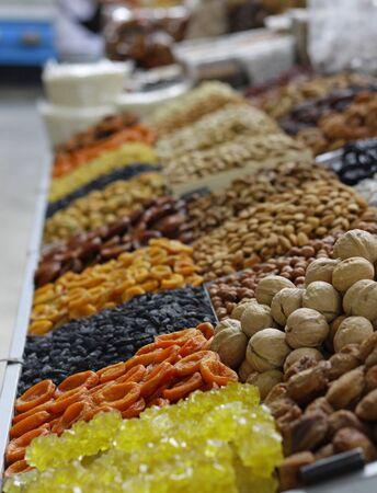 Dried fruit at the famous Green Bazaar in Almaty, Kazakhstan