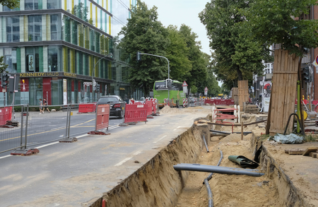 Düsseldorf, Germany - July 19, 2019: Road works and major maintenance work in Düsseldorf.