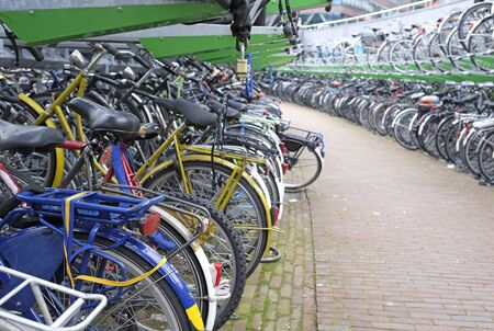 Bicycle parking space in Rotterdam, Netherlands