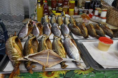 Smoked trout on display at a market in Cholpon Ata, Kyrgyzstan