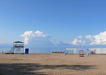 Calm scene at Lake Issyk Kul in Kyrgyzstan